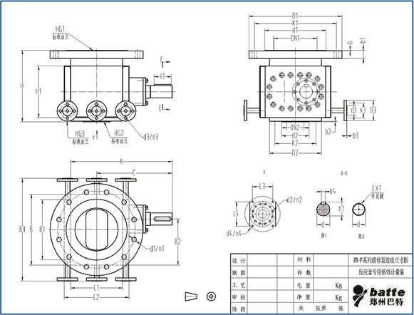 ZB-F gear melt pump for chemical reactor drawing